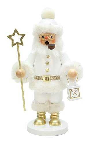 German Incense Smokers Santa Claus white - 26cm / 10 inch - Christian Ulbricht by Authentic German Erzgebirge Handcraft