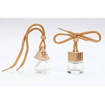 Happi Scents Refillable Car Air Freshener Perfume Bottle 2 Pack - Cute Empty Glass Hanging Aromatherapy Essential Oil Scent Diffuser Set For Cars - Natural Auto & Home Fragrance Boho Decor Accessories