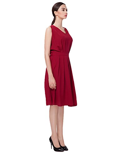 Jollychic - Vestido - plisado - para mujer rojo vino