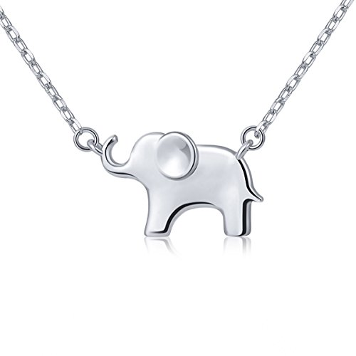ATHENAA S925 Sterling Silver Lovely Elephant Pendant Necklace for Women 18 ()