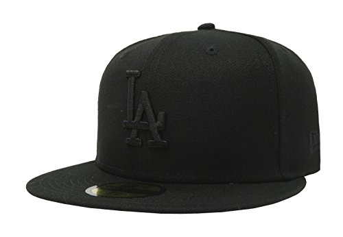 New Era 59Fifty Hat MLB Basic Los Angeles Dodgers LA Black Fitted Cap (7 3/8) ()