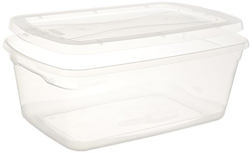Rubbermaid 3Q24CLE Clever Store Snap-Lid Container, 13 3/8 x 16 7/8 x 5 3/8, 15 qt, Clear