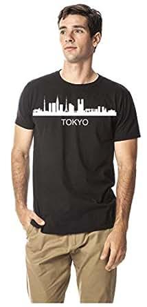 Tokyo city Skyline cotton round neck tshirt, Black S