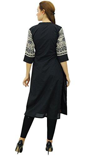 Coton Tunique 4 Kurta Pannel Indian Manches Solide Femmes Kurti Phagun Noir 3 qaF6vnxFw5