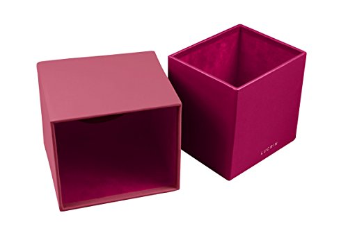 per Lucrin Cognac Box Square Fucsia Tissue Leather Smooth qBwETaHw