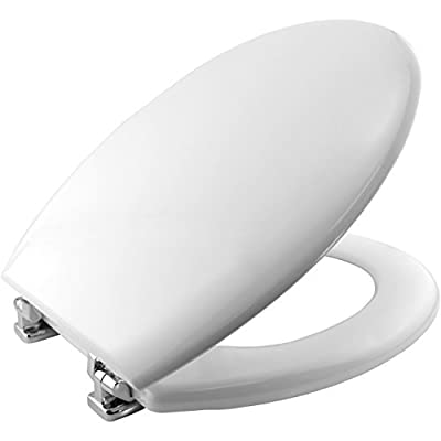 Bemis 4100CPT New York STA-TITE Moulded Wood Toilet Seat with Chrome Plated Hinges - White by Bemis