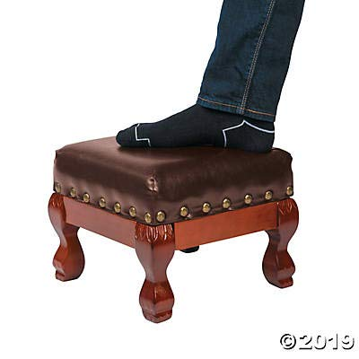 Wood and Faux Leather Small Foot Stool: Kitchen & Dining