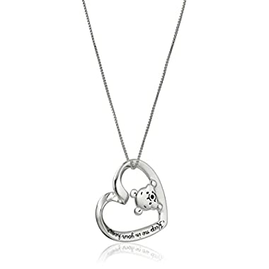 Disney Sterling Silver  Keep Me In Your Heart  Winnie the Pooh Pendant Necklace