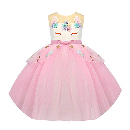 2068 Girls Dress Unicorn Party Kids Dresses for Girls Clothes Teenage Girl Children Birthday Unicorn Costume (Malls In Beverly Hills)