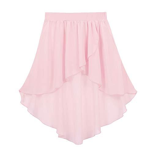 (Freebily Kid Girls Ballet Dance Chiffon Mini Pull-On Wrap Skirt Basic Classic Skate Over Scarf Tutu Skirts Ballerina Costume Pink High-Low 5-6)