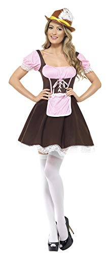 Smiffys Women's Tavern Girl Costume Short Dress with Attached Apron, Brown/Pink, Small ()