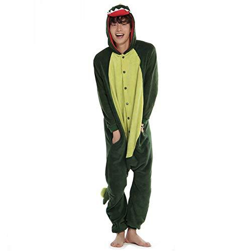 Afoxsos Women's Green Dinosaur Onesie Adult Pajamas Cosplay Costume Size S Dinosaur -