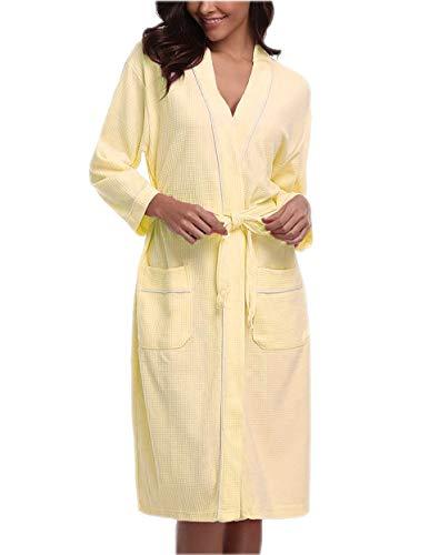 Womens Kimono Robes Short Lightweight V-Neck Bathrobe Nightwear Plus Yellow M