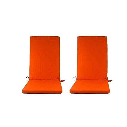 Edenjardi Pack 2 Cojines para sillones de jardín reclinables Color Naranja | Tamaño 114x48x5 cm | Repelente al Agua | Desenfundable | Portes Gratis