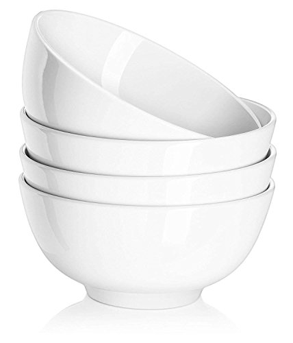 DOWAN 22 Ounce Porcelain Soup Bowls, Cereal Bowls, 4 Packs, White