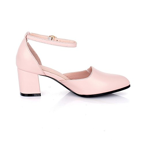 Tacchi Kitten Shoes Toe Pu Scarpe Rosa Solid Closed Buckle Pointed Women's Voguezone009 zqnwXYg71