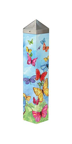 (Studio M Brilliant Butterflies Art Pole Colorful Outdoor Decorative Garden Post, Made in USA, 20 Inches Tall)