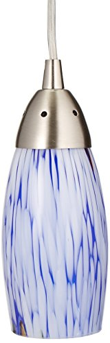 Blue Glass Mini Pendant Chandelier - Elk 110-1BL-LED Milan 1-LED Light Mini Pendant with Starburst Blue Glass Shade, 3 by 7-Inch, Satin Nickel Finish