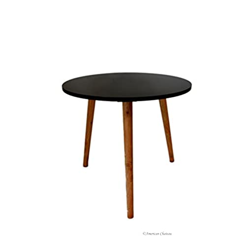 Retro Mid Century Modern Danish Style Black Wood U0026 Melamine Accent Side  Table