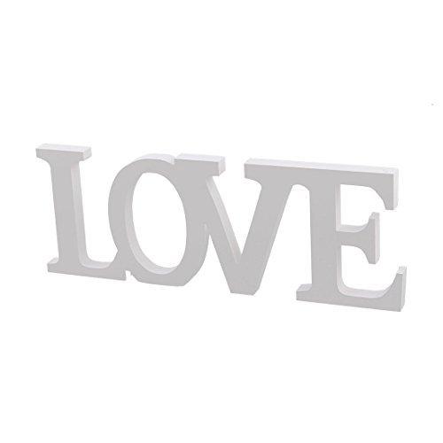 Amazon.com: eDealMax Fiesta de la boda de Madera contrachapada la decoración del hogar Amor Inglés Carta de bricolaje escritorio de la pared Blanca: Home & ...