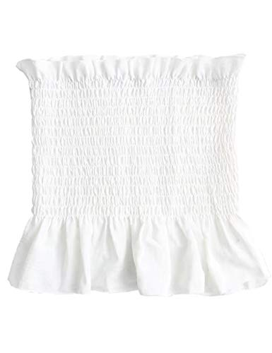 (KAMISSY Women's Frill Smoked Crop Tank Top Bandeau Tube Top Vest White)
