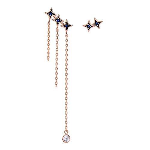 Miss Kiss S925 Hypoallergenic Rose Gold Earrings, CZ Cubic Zirconia Asymmetrical Dangle Drop Stud Star Earrings for Women Girls ME00108 ()