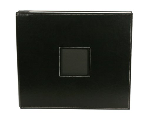 Leather Bound Album - American Crafts 12-Inch by 12-Inch Post Bound Leather Scrapbooking Album, Black