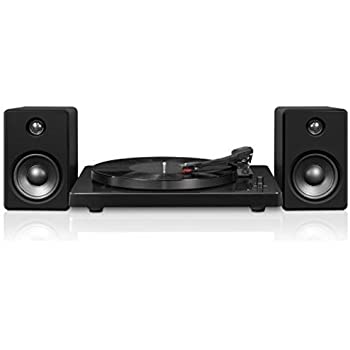 Black Victrola Modern 3 Speed Bluetooth Turntable with 50 Watt Speakers