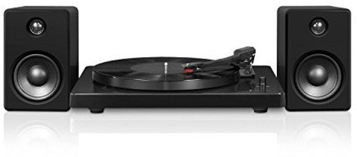 Victrola Modern 3-Speed Bluetooth Turntable with 50 Watt Speakers, Black Piano Finish