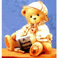 Cherished Teddies Sherlock Boy Bear with Magnifying Glass and Book Figurine 163481