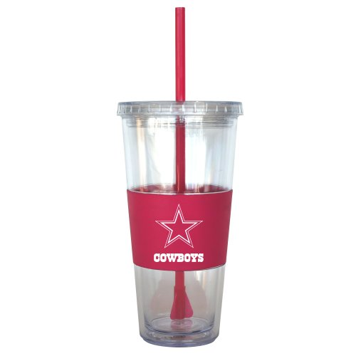 NFL Dallas Cowboys Pink Tumbler with Straw, 22-Ounce