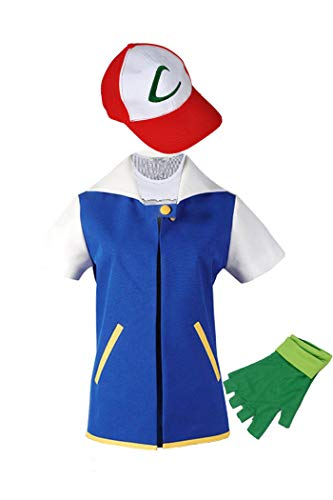 (Adult Kids Ash Ketchum Cosplay Costume Jacket Gloves Hat Set Trainer Halloween)
