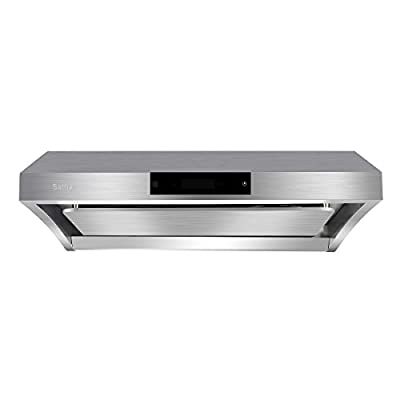 """Wall-Mounted Range Hood, Sattiz 30"""" 860CFM Stainless Steel Under Cabinet Kitchen Bath Range Hood Vent Cooking Fan with Touch Screen Control Panel,LCD Display,High-End LED Lightsand Auto-Clean"""