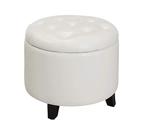 Convenience Concepts Designs4Comfort Storage Ottoman, White (Storage Ottoman White)