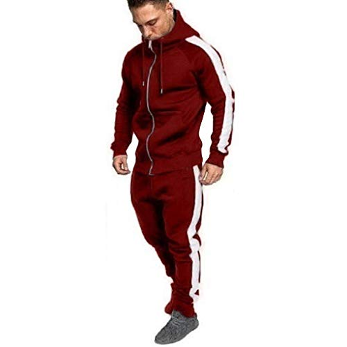 Men's Hooded Athletic Tracksuit Full Zip Casual Jogging Gym Sweat Suits - Men Zipper Sweatshirt Top Pants Sets Sports Suit Tracksuit Muscle Hoodie ()