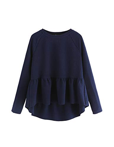 (SheIn Women's Loose Round Neck Raglan Long Sleeve Ruffle High Low Hem Smock Top Navy Small)