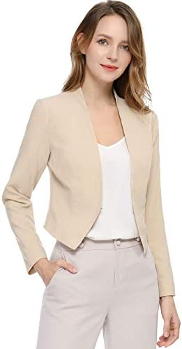 Allegra Okay Women's Collarless Work Office Business Casual Cropped Blazer