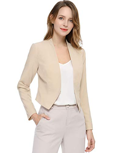 Allegra K Women's Collarless Work Office Business Casual Cropped Blazer M Beige