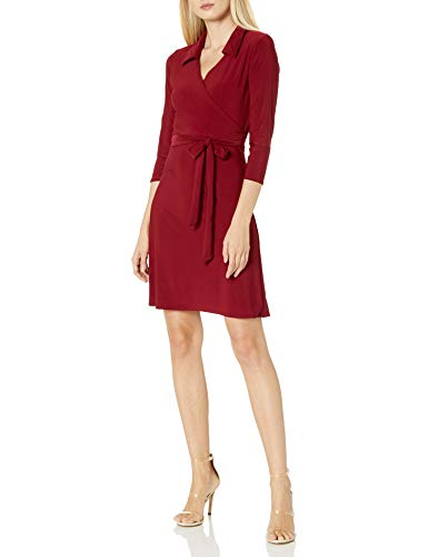 Star Vixen Women's Petite 3/4 Sleeve Faux Wrap Dress with Collar, Burgundy Solid, PM