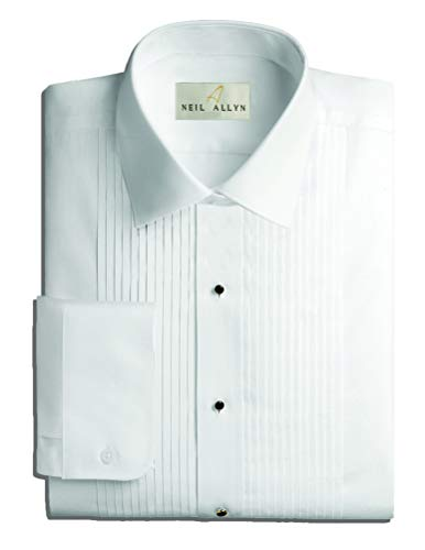 Neil Allyn Mens Tuxedo Shirt Poly/Cotton Laydown Collar 1/4 Inch Pleat (15.5 X 30-31) - Tall Big Tuxedos