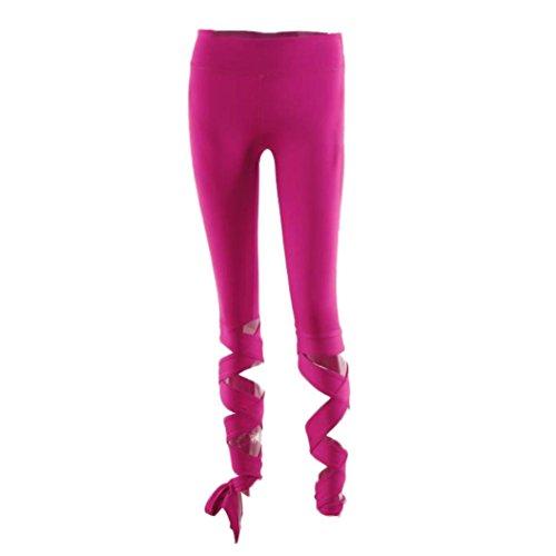 Webla Pantalones deportivos Pantalones deportivos Gimnasio Entrenamiento de yoga Polainas cosechadas Fitness Bandage Athletic Pants Rosa caliente