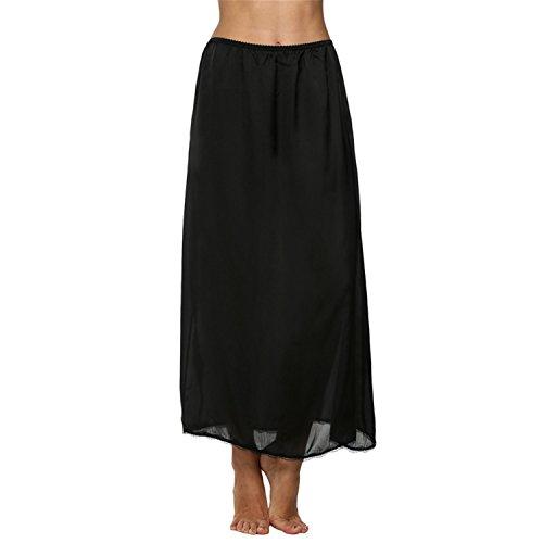 Satin Trim Skirt (Orcan Bluce Women Satin Solid Lace Trim Maxi Half Slip Skirt Loose Elastic Waist White, Black, Beige)