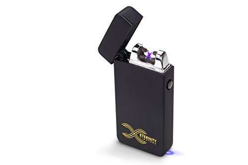 (ETERNITY Lighters Flameless Electronic Rechargeable Windproof Premium Survival or Candle Lighter with Dual Arc, USB Cord, Brush, and Bag in Gift Box)