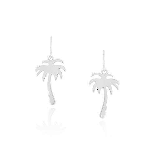 (Cute & Simple Silver Palm Tree Cutout Drop Earrings)