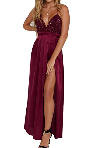 Yimeili Women's Sexy Deep V Neck Backless Split Maxi Cocktail Long Party Dresses(27Color S-XXL) (S, Burgundy Sequin)