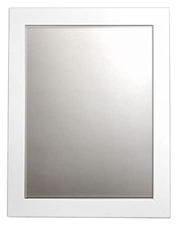 printfinders wall mounted framed mirror in white satin - White Framed Mirror