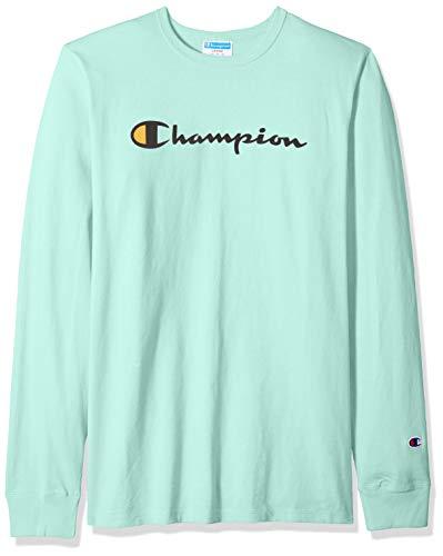 Champion Mens Long Sleeve Tee - Champion LIFE Men's Heritage Long Sleeve Tee, Champion Script Embroidery/Waterfall Green, X-Large