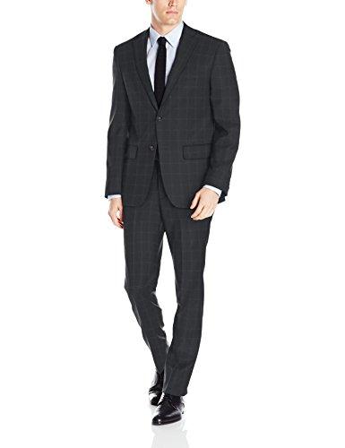DKNY Men's Dominic Slim Fit Single Breast 2 Button Suit, Deep Charcoal, 42 Regular