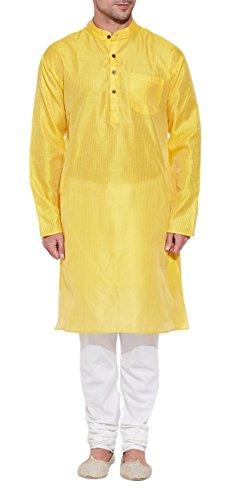 Emerald Yellow Silk Kurta for Men - Men's Indian Fashions - Polyester Dupion by ShalinIndia