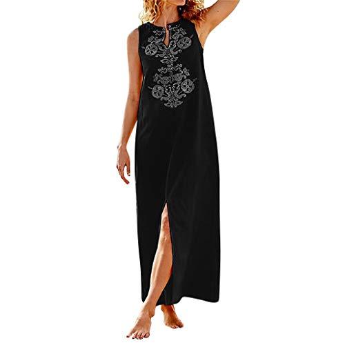 Kulywon Fashion Lady Dress Women V-Neck Printing Sleeveless Easy Sandy Beach Long Dress Black
